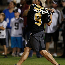 Apr 28, 2010; Metairie, LA, USA; Drew Brees (9) watches after hitting a homerun during the Heath Evans Foundation charity softball game featuring teammates of the Super Bowl XLIV Champion New Orleans Saints at Zephyrs Field.  Mandatory Credit: Derick E. Hingle-US-PRESSWIRE.
