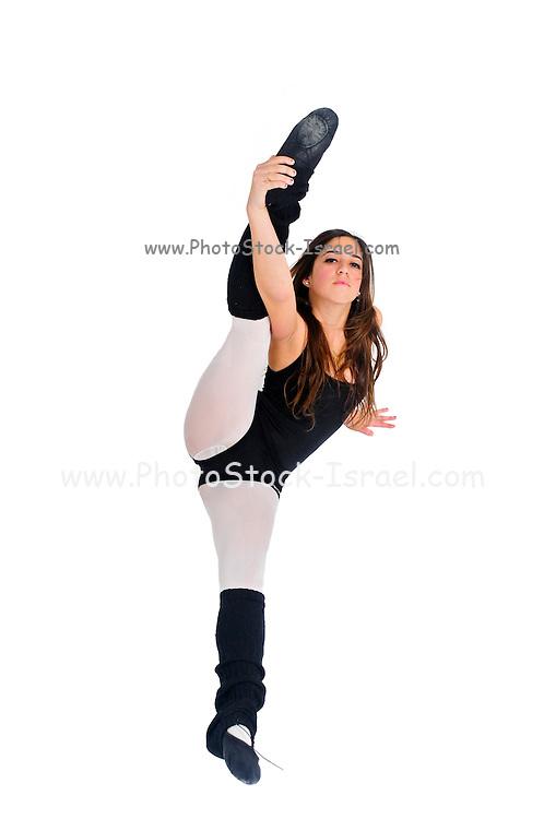 Female teen Ballet Dancer aged thirteen On white Background