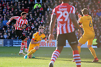 Lincoln City's Bruno Andrade scores the opening goal<br /> <br /> Photographer Andrew Vaughan/CameraSport<br /> <br /> The EFL Sky Bet League Two - Lincoln City v Northampton Town - Saturday 9th February 2019 - Sincil Bank - Lincoln<br /> <br /> World Copyright © 2019 CameraSport. All rights reserved. 43 Linden Ave. Countesthorpe. Leicester. England. LE8 5PG - Tel: +44 (0) 116 277 4147 - admin@camerasport.com - www.camerasport.com
