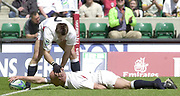 24/05/2002<br />Sport - Rugby Union<br />IRB World Sevens Series - Twickenham<br />Paul Sampson (7) congratulates Phil Geeening on his try.<br />[Mandatory Credit, Peter Spurier/ Intersport Images]<br />   [Mandatory Credit, Peter Spurier/ Intersport Images]