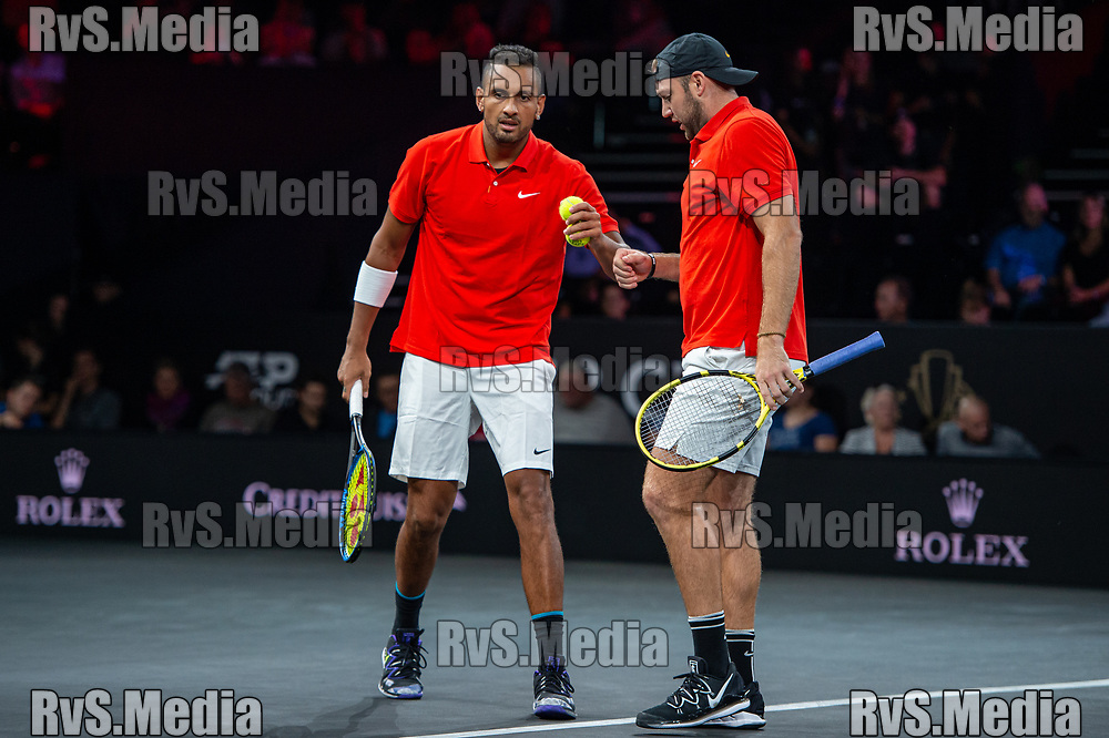 GENEVA, SWITZERLAND - SEPTEMBER 21: Nick Kyrgios of Team World and Jack Sock of Team World reacts after a point during Day 2 of the Laver Cup 2019 at Palexpo on September 21, 2019 in Geneva, Switzerland. The Laver Cup will see six players from the rest of the World competing against their counterparts from Europe. Team World is captained by John McEnroe and Team Europe is captained by Bjorn Borg. The tournament runs from September 20-22. (Photo by Monika Majer/RvS.Media)