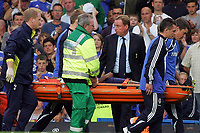 Chelsea FC vs Tottenham Hotspur FC Premiership 20/09/09<br /> Photo Nicky Hayes Fotosports International<br /> A worried Harry Redknapp looks concerned as Sebastian Bassong is stretchered off.