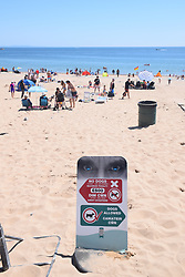 No dogs allowed on part of South beach, Tenby, Pembrokeshire, South Wales July 2021