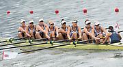"Rio de Janeiro. BRAZIL.   GBR W8+. Bow. Katie GREVES, Katie, WILSON, Melanie, Frances HOUGHTON, Polly SWANN,  Jessica EDDIE,  Olivia CARNEGIE-BROWN,  Karen BENNETT, Zoe LEE, and cox. Zoe DE TOLEDO . moving awa2016 Olympic Rowing Regatta. Lagoa Stadium,<br /> Copacabana,  ""Olympic Summer Games""<br /> Rodrigo de Freitas Lagoon, Lagoa.   Monday  08/08/2016 <br /> <br /> [Mandatory Credit; Peter SPURRIER/Intersport Images]"