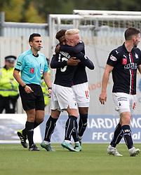 Falkirk's Myles Hippolyte celebrates with Falkirk's Craig Sibbald after scoring their second goal. Falkirk 2 v 1 Dunfermline, Scottish Championship game played 15/10/2016, at The Falkirk Stadium.