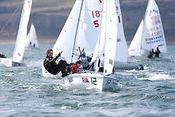 Day 1 of the RYA Youth National Championships 2013 held at Largs Sailing Club, Scotland from the 31st March - 5th April. ..54480, James TAYLOR, Tom LOVESEY, HISC, 420..For Further Information Contact..Matt Carter.Racing Communications Officer.Royal Yachting Association.M: 07769 505203.E: matt.carter@rya.org.uk ..Image Credit Marc Turner / RYA..