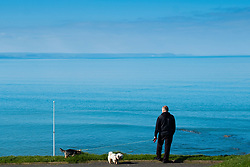 © London NewsPictures. 07/04/2017. Aberystwyth, UK. A man walking his dogs on the promenade on a bright sunny spring morning  in Aberystwyth west Wales. High pressure dominates the weather in the UK, promising good weather and temperatures into the low 20s centigrade over  the coming weekend. Photo credit: Keith Morris/LNP
