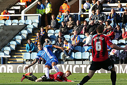 Peterborough United's Nathaniel Mendez-Laing scores the only goal of the game - Photo mandatory by-line: Joe Dent/JMP - Tel: Mobile: 07966 386802 19/10/2013 - SPORT - FOOTBALL - London Road Stadium - Peterborough - Peterborough United V Shrewsbury Town - Sky Bet League One
