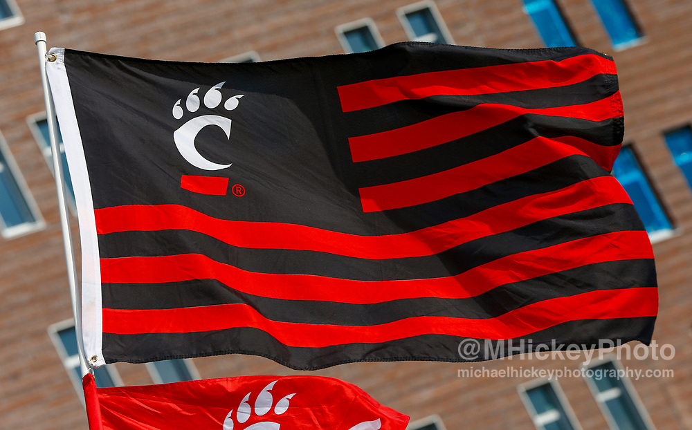CINCINNATI, OH - AUGUST 31: A Cincinnati Bearcats flag is seen outside of the stadium before the game against the Austin Peay Governors at Nippert Stadium on August 31, 2017 in Cincinnati, Ohio. (Photo by Michael Hickey/Getty Images)