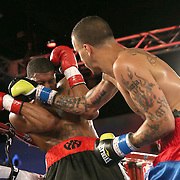 Radivvoje Kalajdzic (R) punches  Larry Pryor during a Telemundo Boxeo boxing match at the A La Carte Pavilion on Friday,  March 13, 2015 in Tampa, Florida.  Kalajdzic  won the bout after the referee stopped the fight. (AP Photo/Alex Menendez)