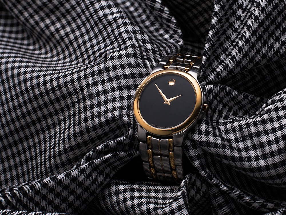 Silver and Gold Movado Watch in Houndstooth B&W Silk