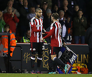 Leon Clarke of Sheffield Utd replaces Billy Sharp of Sheffield Utd during the English League One match at Bramall Lane Stadium, Sheffield. Picture date: December 10th, 2016. Pic Simon Bellis/Sportimage