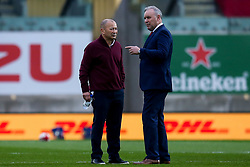 Autumn Nations Cup, Parc y Scarlets, Llanelli, UK 28/11/2020<br /> Wales vs England<br /> Wales head coach Wayne Pivac talks with and England head coach Eddie Jones<br /> Mandatory Credit ©INPHO/Robbie Stephenson