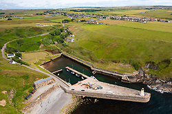 Aerial view from drone of harbour at Lybster on coast of Caithness, Scotland, UK