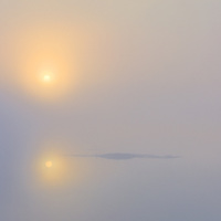 Misty Morning with mystical golden Sunreflexion in the Water County Kerry Ireland Seascape / lg036