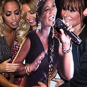 NLD/Amsterdam/20130916 - Bekendmaking van het concert Ladies of Soul, Trijntje oosterhuis, kartonnen bord van partner Edsilia Rombley, Candy Dulfer, Glennis Grace, Tjeerd Oosterhuis en Berget Lewis