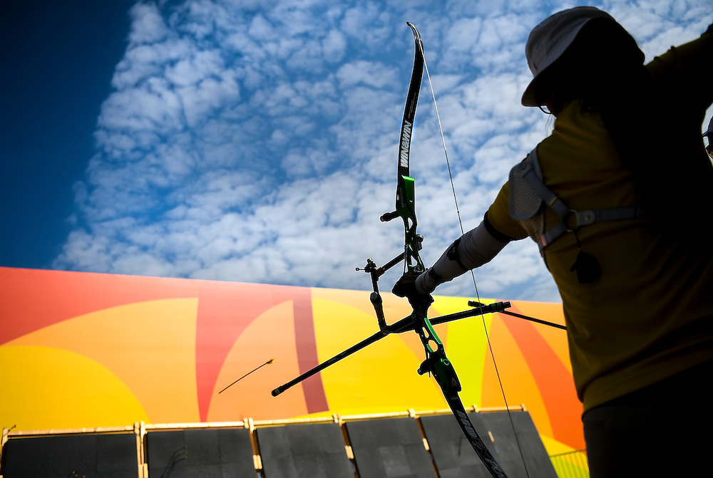 An archer practiced in the warmup area on Saturday afternoon inside the Sambodromo Stadium at the 2016 Summer Olympics Games in Rio de Janeiro, Brazil.