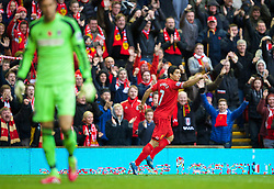 09.11.2013, Anfield, LIVERPOOL, ENG, Premier League, FC Liverpool vs FC Fulham, 11. Runde, im Bild Liverpool's Luis Suarez celebrates scoring the third goal // during the English Premier League 11th round match between Liverpool FC and Fulham FC at Anfield in LIVERPOOL, Great Britain on 2013/11/09. EXPA Pictures © 2013, PhotoCredit: EXPA/ Propagandaphoto/ David Rawcliffe<br /> <br /> *****ATTENTION - OUT of ENG, GBR*****