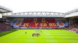 13.04.2014, Anfield, Liverpool, ENG, Premier League, FC Liverpool vs Manchester City, 34. Runde, im Bild The supporters on the Spion Kop make a mosaic toremember the 96 victims of the Hillsborough Stadium Disaster on the 25th Anniversary // during the English Premier League 34th round match between Liverpool FC and Manchester City at Anfield in Liverpool, Great Britain on 2014/04/13. EXPA Pictures © 2014, PhotoCredit: EXPA/ Propagandaphoto/ David Rawcliffe<br /> <br /> *****ATTENTION - OUT of ENG, GBR*****