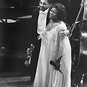 Wynton Marsalis, trumpeter and Sarah Vaughan jazz vocalist with The Boston Pops,  1984
