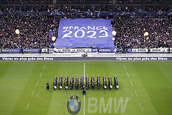 November 11, 2017 - Saint Denis, Ile de France, France - Tifo geant pour annoncer la coupe du monde de rugby ÉÀÉ'' qui aura lieu en France, Fanfare de la Garde Republicaine (Credit Image: © Panoramic via ZUMA Press)