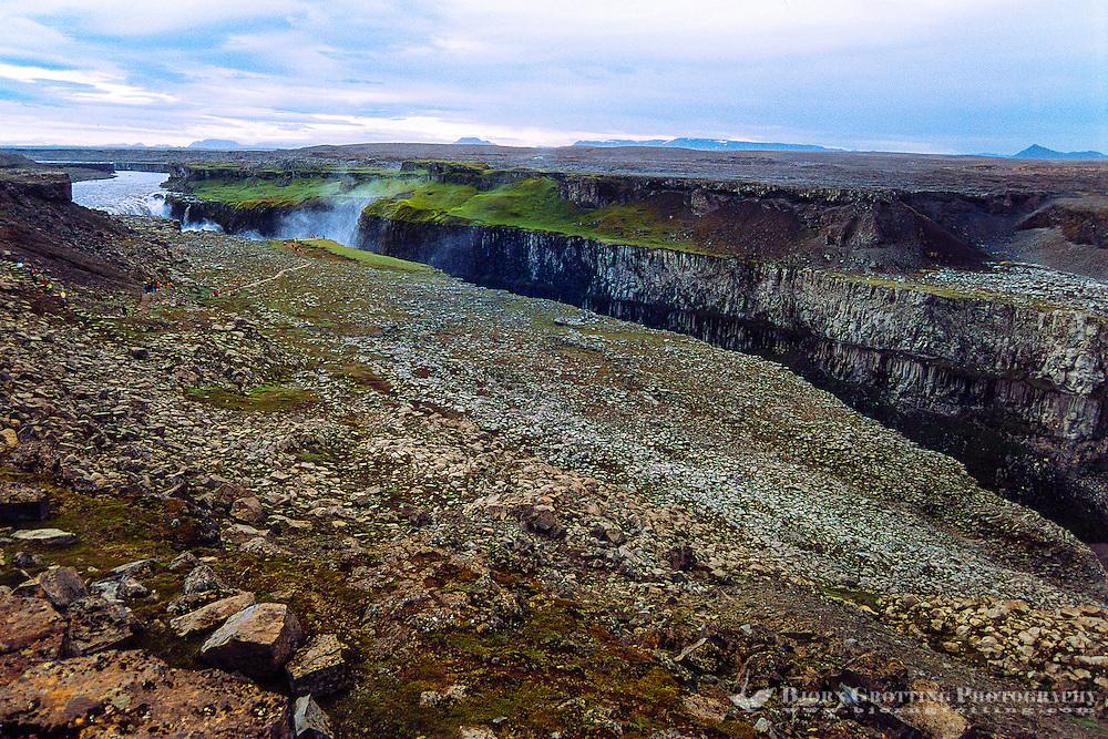Iceland. Dettifoss is a pwerful waterfall in Vatnajökull National Park on the Jökulsá á Fjöllum river. The Jökulsárgljúfur canyon.