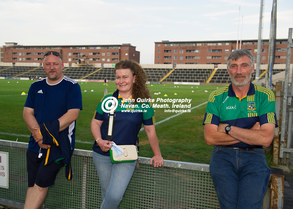 23-07-21. Meath v Tipperary - LGFA All-Ireland Senior Championship - Group 3 Round 2 at O'Moore Park, Portlaoise.<br /> Supporting Meath in O'Moore Park, Portlaoise L to R: Roy Mitchell, Deirdre Mitchell, Kells and Frank Hevey, Athboy. All Members of the Meath LGFA Executive.<br /> Photo: John Quirke / www.quirke.ie<br /> ©John Quirke Photography, 16 Proudstown Road, Navan. Co. Meath. (info@quirke.ie / 046-9028461 / 087-2579454).