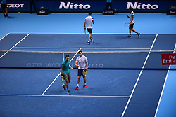 November 14, 2017 - London, England, United Kingdom - Ryan Harrison of The United States and Michael Venus of New Zealand win against Nicolas Mahut of France and Pierre-Hugues Herbert of France in their doubles match on day three of the Nitto ATP World Tour Finals at O2 Arena ,London on November 14, 2017. (Credit Image: © Alberto Pezzali/NurPhoto via ZUMA Press)