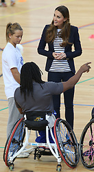 The Duchess of Cambridge at a SportsAid Athlete Workshop at the Copper Box, in the Queen Elizabeth Olympic Park in London, United Kingdom,  Friday, 18th October 2013. Picture by Stephen Lock / i-Images