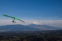 Mt Fuji Hang Gliding - One of the more popular spots for hang gliding is in the Izu Peninsula south of Mount Fuji, where wind conditions are idea and the terrain is hilly with flat valleys for safe landings.  Plus, the backdrop view of Mt Fuji is an extra plus.  Hang gliding is a recreational activity using an air glider made of aluminum or composite frames covered with lightweight sailcloth which forms a birdlike wing. The hang glider will use a harness suspended from the frame, and controls the glider by shifting body weight in opposition to the frame.  With improved methods and hang gliders pilots can drift and soar for hours, gain thousands of feet of altitude using updrafts, perform aerobatics, and glide cross-country.   Because of the poor safety record of early hang gliders, the sport has long been considered to be unsafe but advances in training and glider construction have led to a much better safety record thanks to being built using sturdy materials plus modern gliders now have built-in dive recovery mechanisms. Pilots carry parachutes enclosed in their harnesses in case of serious problems.  Pilots also wear helmets.  Therefore, the accident rate from hang glider flying has been dramatically decreased by pilot training. People in hang gliders wrap themselves in harnesses such as pod harnesses that are put on like a jacket.  The most common method of launching is from a hill on foot with ideal wind conditions.