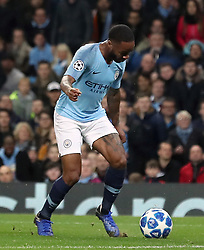 Manchester City's Raheem Sterling goes down inside the box, resulting in a penalty during the UEFA Champions League match at the Etihad Stadium, Manchester.