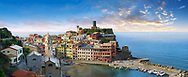 Harbour of the fishing port of Vernazza at sunrise, Cinque Terre National Park, Ligurian Riviera, Italy. A UNESCO World Heritage Site