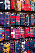 Traditional Scottish clan tartan scarves display for sale in James Pringle Weavers Shop in St Vincent Street in Glasgow, Scotland, UK