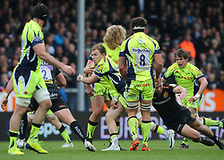 Sale Sharks Will Addison with the ball during the Aviva Premiership match at Sandy Park, Exeter.