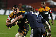 Chiefs Captain Liam Messam lines up Luke Braid during the Investec Super 15 Rugby match, Chiefs v Blues, at Waikato Stadium, Hamilton, New Zealand, Saturday 26 March 2011. Photo: Dion Mellow/photosport.co.nz