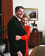 President Reagan and first Lady Nancy Reagan during a photo sesssion after the president announced his candidacy for president for a second term.  <br />Photo by Dennis Brack. bb77