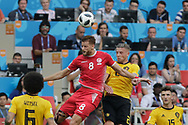 Fakhreddine Ben Youssef of Tunisia and Toby Alderweireld of Belgium during the 2018 FIFA World Cup Russia, Group G football match between Belgium and Tunisia on June 23, 2018 at Spartak Stadium in Moscow, Russia - Photo Thiago Bernardes / FramePhoto / ProSportsImages / DPPI