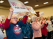 16 JANUARY 2020 - DES MOINES, IOWA: JOSETTE DAUM, from Ankeny, IA, cheers for the reelection of Donald Trump during the Women for Trump rally in Airport Holiday Inn in Des Moines. About 200 women attended the event, which featured Lara Trump, Mercedes Schlapp, and Kayleigh McEnany, surrogates on the campaign trail for President Donald Trump.         PHOTO BY JACK KURTZ