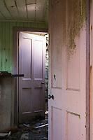 Wood door inside derelict croft house, Berneray, Outer Hebrides, Scotland