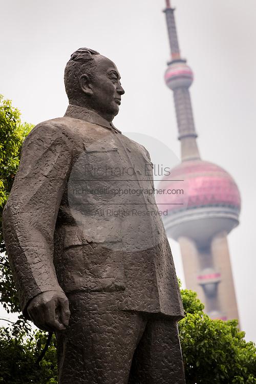 Statue of Shanghai Mayor Chen Yi on the Bund Shanghai, China.