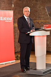 © Licensed to London News Pictures. 07/05/2017. London, UK. Labour Party Shadow Chancellor, JOHN MCDONNELL gives a speech on Labour's fiscal sustainability plans.  MCDONNELL will rule out raising the standard rate of VAT or national insurance and promise not to hit those earning less than £80,000 with income tax rises.<br />  Photo credit: Ray Tang/LNP