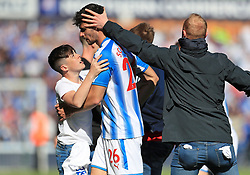 Huddersfield Town's Jon Gorenc Stankovic is mobbed by fans after the Premier League match at the John Smith's Stadium, Huddersfield.