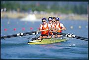 Sydney. AUSTRALIA. 2000 Summer Olympic Regatta, Penrith. NSW.  <br /> <br /> NED LM4X. Bow: TROOSTER, Joris, 3. SPAANS, Jeroen, 2. KOLKMAN, Simon, stroke VAN DER VOOREN, Robert.<br /> <br /> [Mandatory Credit Peter SPURRIER/ Intersport Images] Sydney International Regatta Centre (SIRC) 2000 Olympic Rowing Regatta00085138.tif