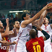 Turkey's Sinan GULER (R) and Enes KANTER (C) during their Istanbul CUP 2011match played Montenegro between Turkey at Abdi Ipekci Arena in Istanbul, Turkey on 25 August 2011. Photo by TURKPIX