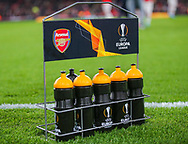 The Europa League water bottles during the Europa League match between Arsenal and Vitoria SC at the Emirates Stadium, London, England on 24 October 2019.