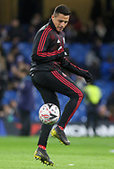 Manchester United Forward Alexis Sanchez controls the ball in warm up during the The FA Cup 5th round match between Chelsea and Manchester United at Stamford Bridge, London, England on 18 February 2019.