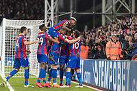 Football - 2017 / 2018 Premier League - Crystal Palace vs. Manchester United<br /> <br /> Crysta Palace players congratulate goalscorer Andros Townsend (Crystal Palace) at Selhurst Park.<br /> <br /> COLORSPORT/DANIEL BEARHAM