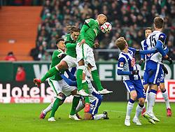 01.02.2015, Weserstadion, Bremen, GER, 1. FBL, SV Werder Bremen vs Hertha BSC, 18. Runde, im Bild Jannik Vestergaard (SV Werder Bremen #7) und Theodor Gebre Selassie (SV Werder Bremen #23) beim Kopfball, Davie Selke (SV Werder Bremen #27) im Hintergrund // during the German Bundesliga 18th round match between SV Werder Bremen and Hertha BSC at the Weserstadion in Bremen, Germany on 2015/02/01. EXPA Pictures © 2015, PhotoCredit: EXPA/ Andreas Gumz<br /> <br /> *****ATTENTION - OUT of GER*****