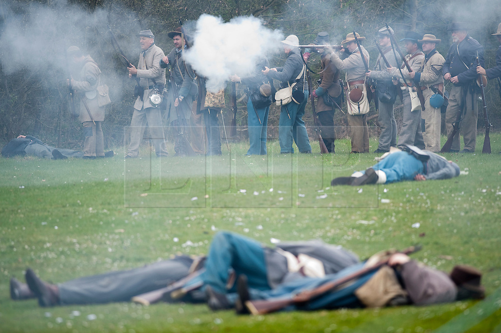© London News Pictures. 08/04/2012. South Okendon, UK.  Members of the Southern Skirmish Association take part in a reenactment of the final days of the American Cival war at Belhus Wood Country Park near South Okenden, Essex on April 8, 2012. The American Civil war was ended on April 9, 1865 when the  Confederate surrendered to the Union. Photo credit :  Ben Cawthra/LNP