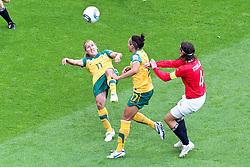06-07-2011 VOETBAL: FIFA WOMENS WORLDCUP 2011 AUSTRALIA - NORWAY: LEVERKUSEN<br /> Lisa De Vanna (Australien) (L) versucht einen Fallrueckzieher gegen Kyan Simon (Australien) und Ingvild Stensland (Norgwegen) (R) <br /> ***NETHERLANDS ONLY***<br /> ©2011-FRH- NPH/Mueller